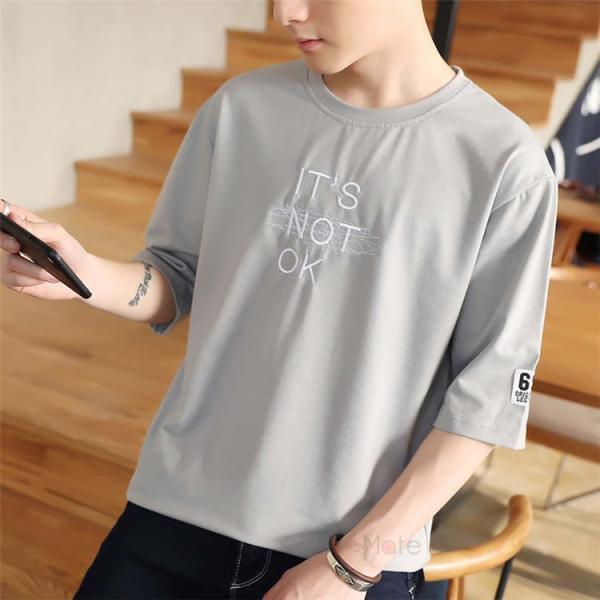 半袖Tシャツ メンズ 半袖 白Tシャツ クルーネック プリントTシャツ 涼しい カジュアル ティーシャツ お兄系 夏 サマー 99mate 18