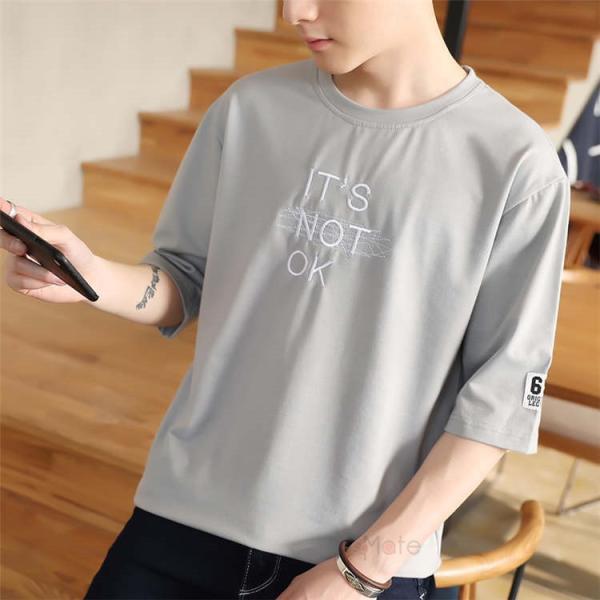半袖Tシャツ メンズ 半袖 白Tシャツ クルーネック プリントTシャツ 涼しい カジュアル ティーシャツ お兄系 夏 サマー 99mate 19