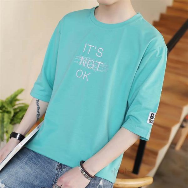 半袖Tシャツ メンズ 半袖 白Tシャツ クルーネック プリントTシャツ 涼しい カジュアル ティーシャツ お兄系 夏 サマー 99mate 06