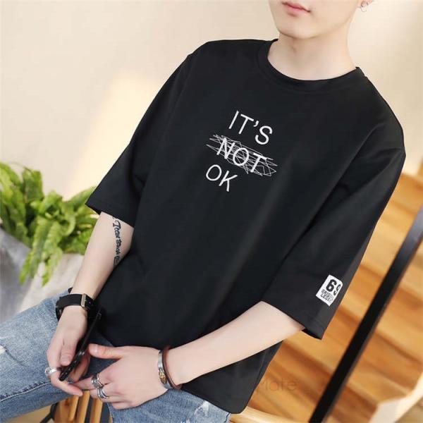 半袖Tシャツ メンズ 半袖 白Tシャツ クルーネック プリントTシャツ 涼しい カジュアル ティーシャツ お兄系 夏 サマー 99mate 07