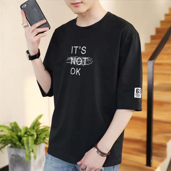 半袖Tシャツ メンズ 半袖 白Tシャツ クルーネック プリントTシャツ 涼しい カジュアル ティーシャツ お兄系 夏 サマー 99mate 09