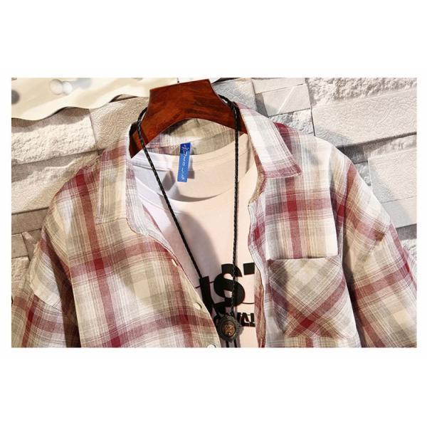 開襟シャツ メンズ 半袖シャツ カジュアルシャツ チェック柄 通勤 通学 半袖 部屋着 ビジネス おしゃれ 夏|99mate|10