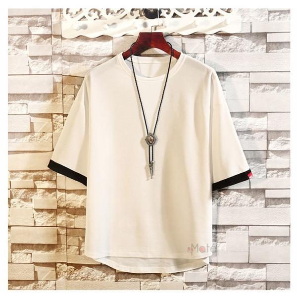 カジュアル Tシャツ メンズ クルーネック カットソー 半袖Tシャツ トップス ルームウェア 部屋着 大きいサイズ お兄系 夏服|99mate|03