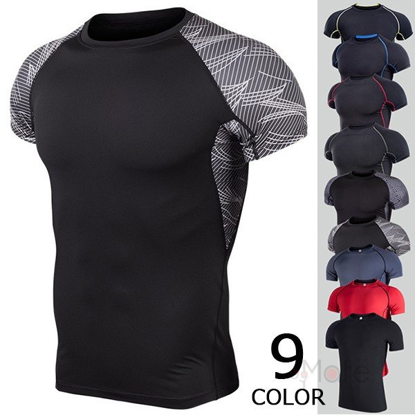 コンプレッションウェア 半袖 メンズ Tシャツ スポーツウェア スポーツシャツ 夏 インナー 加圧シャツ アンダー トレーニングウェア セール|99mate