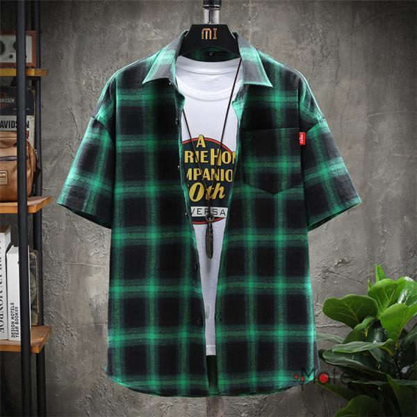 チェックシャツ メンズ トップス 半袖シャツ ネルシャツ カジュアルシャツ 薄手シャツ 半袖 ルームウェア お兄系 ゆったり 2019夏 セール|99mate|04