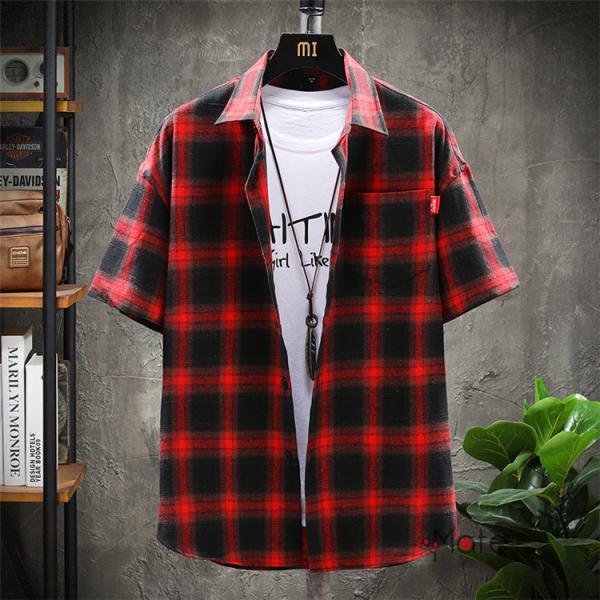 チェックシャツ メンズ トップス 半袖シャツ ネルシャツ カジュアルシャツ 薄手シャツ 半袖 ルームウェア お兄系 ゆったり 2019夏 セール|99mate|05