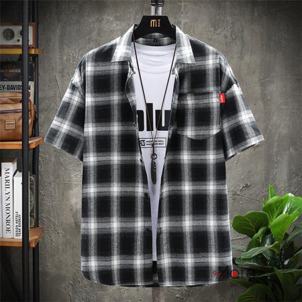 チェックシャツ メンズ トップス 半袖シャツ ネルシャツ カジュアルシャツ 薄手シャツ 半袖 ルームウェア お兄系 ゆったり 2019夏 セール|99mate|06