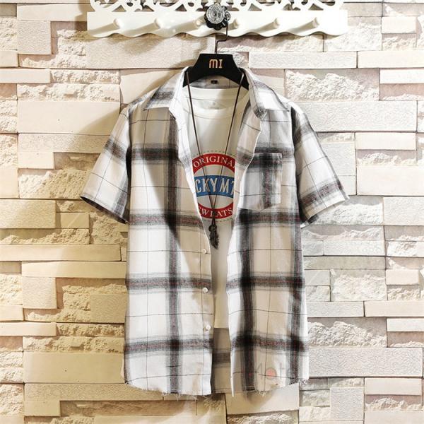 半袖シャツ メンズ ネルシャツ チェックシャツ カジュアルシャツ ルームウェア 半袖 シャツ 部屋着 お兄系 夏服 99mate 03