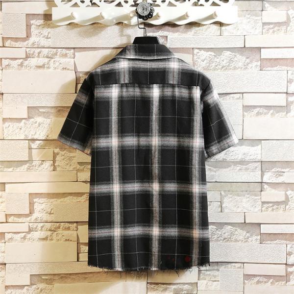 半袖シャツ メンズ ネルシャツ チェックシャツ カジュアルシャツ ルームウェア 半袖 シャツ 部屋着 お兄系 夏服 99mate 05
