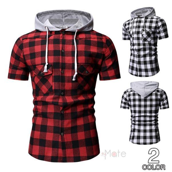 カジュアルシャツ メンズ 半袖 パーカー 開襟シャツ シャツコート 半袖シャツ ルームウェア チェック柄 フード付き おしゃれ 夏
