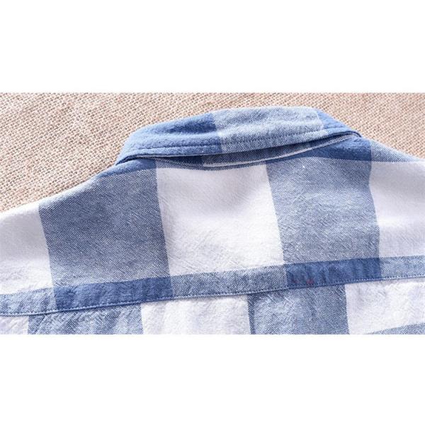 綿麻シャツ メンズ カジュアル チェックシャツ 開襟シャツ リネンシャツ 半袖シャツ 薄手 ルームウェア お兄系 おしゃれ 綿麻 夏|99mate|11