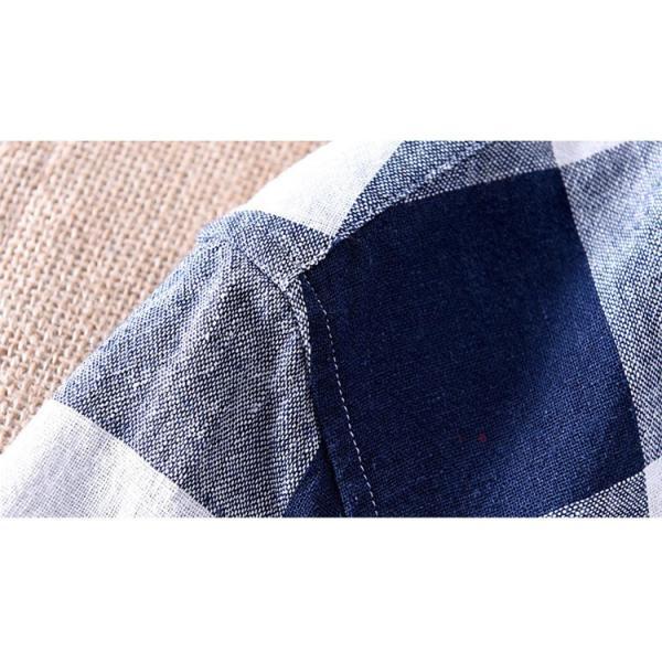 綿麻シャツ メンズ カジュアル チェックシャツ 開襟シャツ リネンシャツ 半袖シャツ 薄手 ルームウェア お兄系 おしゃれ 綿麻 夏|99mate|16