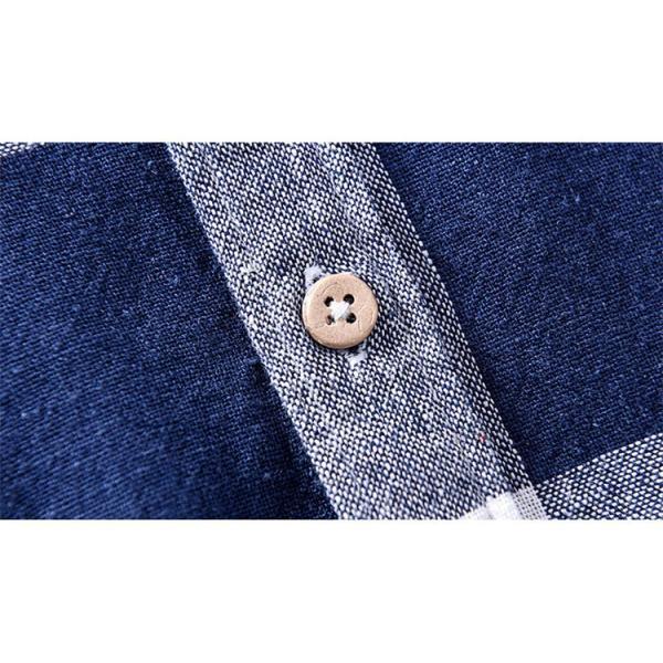 綿麻シャツ メンズ カジュアル チェックシャツ 開襟シャツ リネンシャツ 半袖シャツ 薄手 ルームウェア お兄系 おしゃれ 綿麻 夏|99mate|17