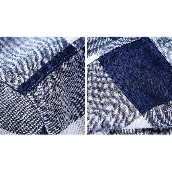 綿麻シャツ メンズ カジュアル チェックシャツ 開襟シャツ リネンシャツ 半袖シャツ 薄手 ルームウェア お兄系 おしゃれ 綿麻 夏|99mate|19