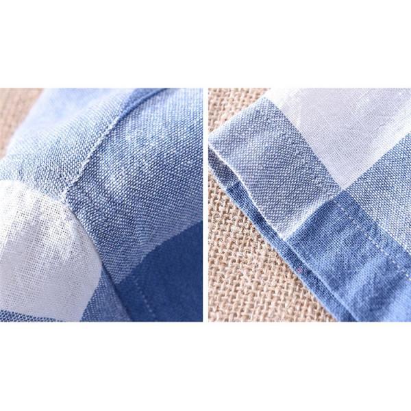 綿麻シャツ メンズ カジュアル チェックシャツ 開襟シャツ リネンシャツ 半袖シャツ 薄手 ルームウェア お兄系 おしゃれ 綿麻 夏|99mate|09