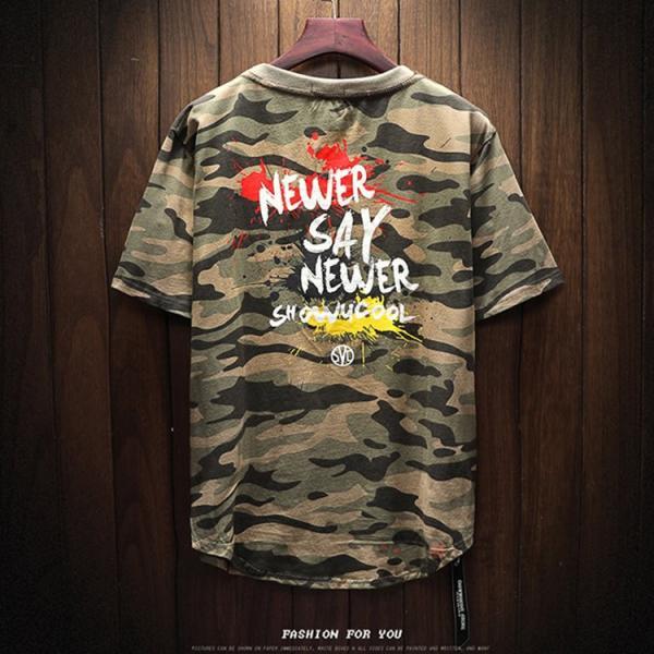 半袖 ティーシャツ メンズ 迷彩柄 Tシャツ カジュアル 半袖Tシャツ プリントTシャツ お兄系 おしゃれ 夏新作|99mate