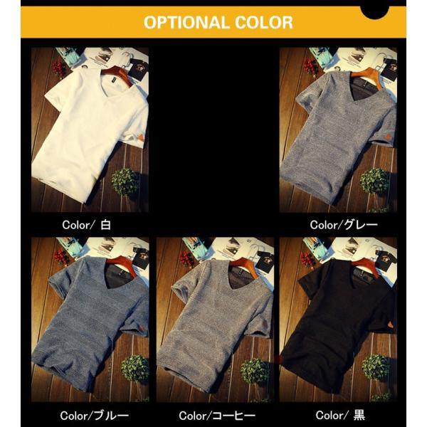 カジュアルTシャツ メンズ 半袖 Tシャツ ティーシャツ 無地 半袖Tシャツ Vネック かっこいい 夏新作 送料無料|99mate|03