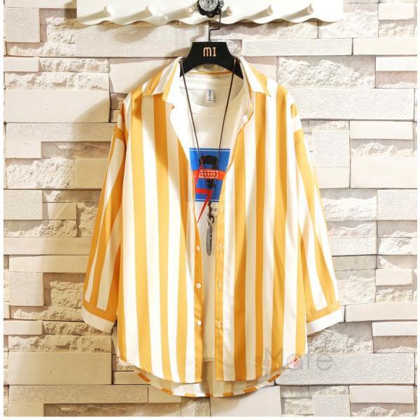 開襟シャツ メンズ シャツ 七分袖 カジュアルシャツ ストライプシャツ ルームウェア 紳士服 トップス 夏 父の日 99mate 04