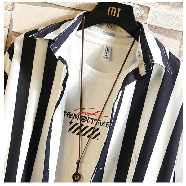 開襟シャツ メンズ シャツ 七分袖 カジュアルシャツ ストライプシャツ ルームウェア 紳士服 トップス 夏 父の日 99mate 07