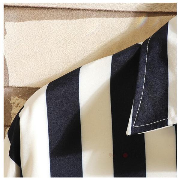 開襟シャツ メンズ シャツ 七分袖 カジュアルシャツ ストライプシャツ ルームウェア 紳士服 トップス 夏 父の日 99mate 08