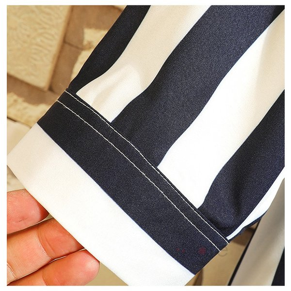 開襟シャツ メンズ シャツ 七分袖 カジュアルシャツ ストライプシャツ ルームウェア 紳士服 トップス 夏 父の日 99mate 09
