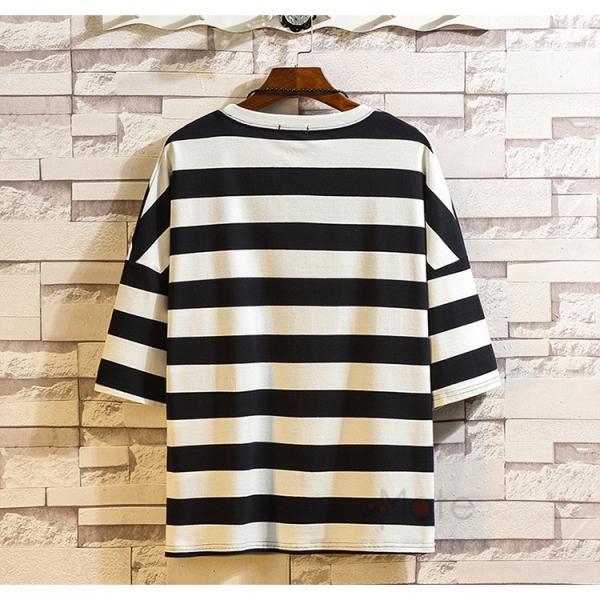 ティーシャツ メンズ Tシャツ 大きいサイズ カジュアル おしゃれ ボーダー柄 半袖Tシャツ お兄系 カットソー ゆったり 夏 送料無料|99mate|05
