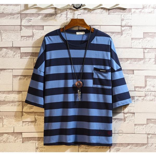 ティーシャツ メンズ Tシャツ 大きいサイズ カジュアル おしゃれ ボーダー柄 半袖Tシャツ お兄系 カットソー ゆったり 夏 送料無料|99mate|06