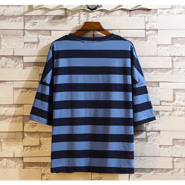 ティーシャツ メンズ Tシャツ 大きいサイズ カジュアル おしゃれ ボーダー柄 半袖Tシャツ お兄系 カットソー ゆったり 夏 送料無料|99mate|07
