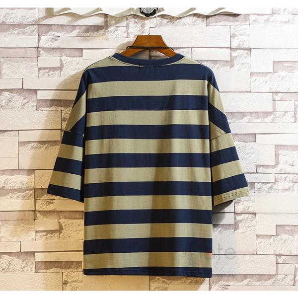 ティーシャツ メンズ Tシャツ 大きいサイズ カジュアル おしゃれ ボーダー柄 半袖Tシャツ お兄系 カットソー ゆったり 夏 送料無料|99mate|09