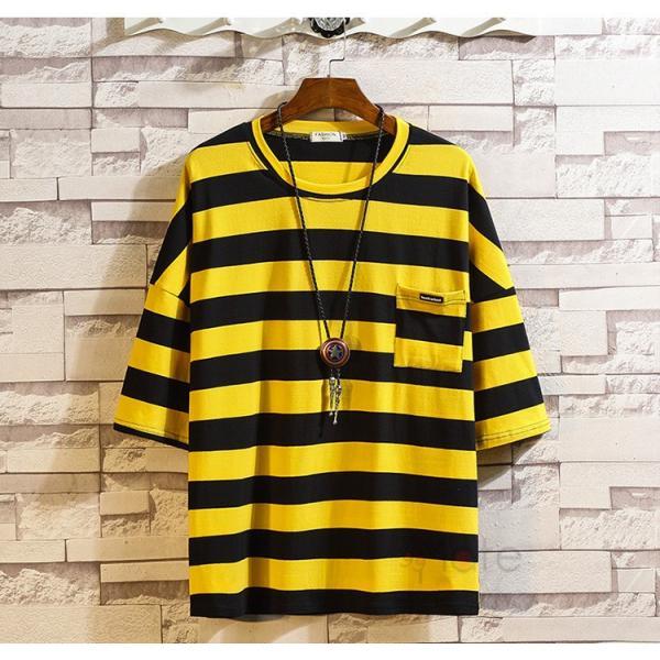ティーシャツ メンズ Tシャツ 大きいサイズ カジュアル おしゃれ ボーダー柄 半袖Tシャツ お兄系 カットソー ゆったり 夏 送料無料|99mate|10