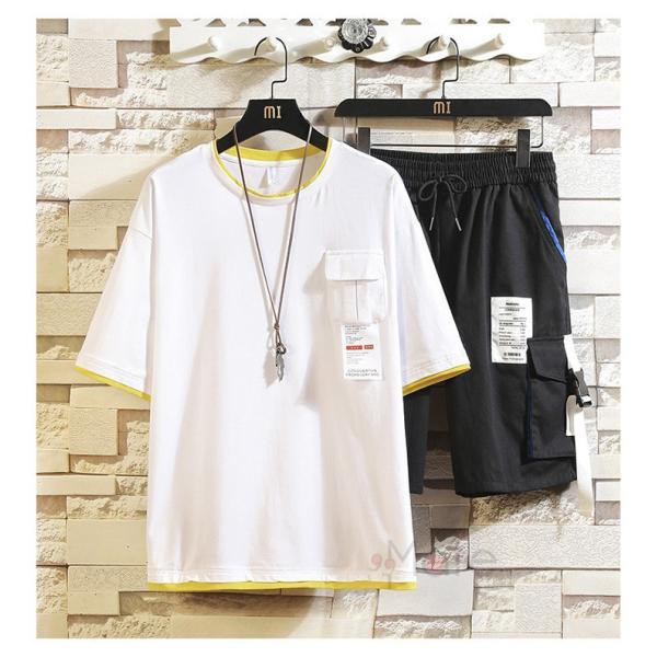 上下セット メンズ 半袖 Tシャツ スポーツウェア ショートパンツ セットアップ 部屋着 カジュアル ジャージ 夏新作|99mate|05