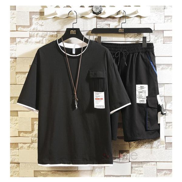 上下セット メンズ 半袖 Tシャツ スポーツウェア ショートパンツ セットアップ 部屋着 カジュアル ジャージ 夏新作|99mate|06