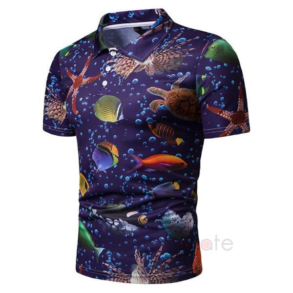 ポロシャツ メンズ Tシャツ 半袖ポロ カジュアルシャツ POLO ゴルフシャツ アメカジ 柄物 ゴルフウェア 夏|99mate|04