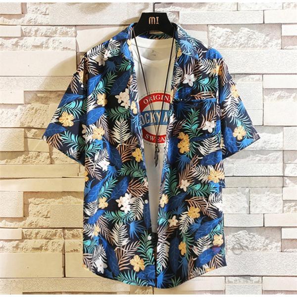 半袖シャツ メンズ アロハシャツ 開襟 柄シャツ カジュアルシャツ 半袖 花柄 オープンカラーシャツ リゾート トップス 夏