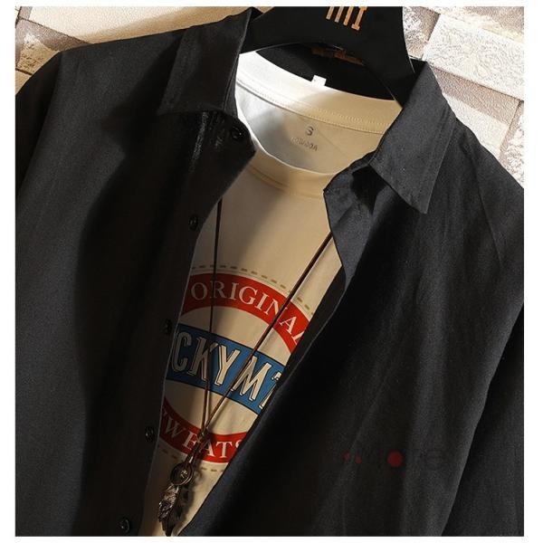 開襟シャツ メンズ 半袖シャツ 七分袖 夏物 おしゃれ トップス カジュアルシャツ 白シャツ ビジネス 通学 お兄系|99mate|14