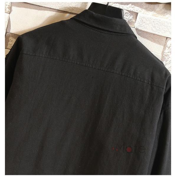 開襟シャツ メンズ 半袖シャツ 七分袖 夏物 おしゃれ トップス カジュアルシャツ 白シャツ ビジネス 通学 お兄系|99mate|15