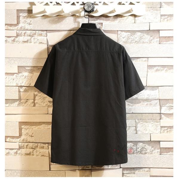 開襟シャツ メンズ 半袖シャツ 七分袖 夏物 おしゃれ トップス カジュアルシャツ 白シャツ ビジネス 通学 お兄系|99mate|09