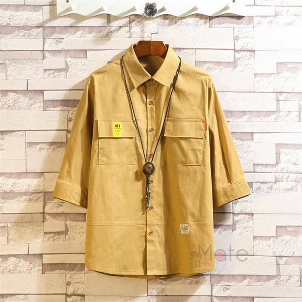 ワークシャツ 半袖シャツ メンズ 五分袖シャツ カジュアルシャツ ミリタリーシャツ アウトドア 夏 新作 99mate 06