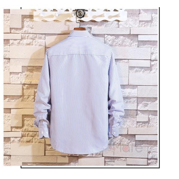 ストライプシャツ メンズ 長袖シャツ カジュアルシャツ ボタンダウンシャツ ビジネス 開襟シャツ 紳士服 おしゃれ|99mate|11