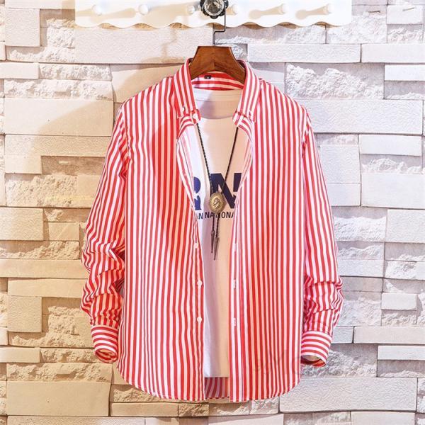 ストライプシャツ メンズ 長袖シャツ カジュアルシャツ ボタンダウンシャツ ビジネス 開襟シャツ 紳士服 おしゃれ|99mate|14