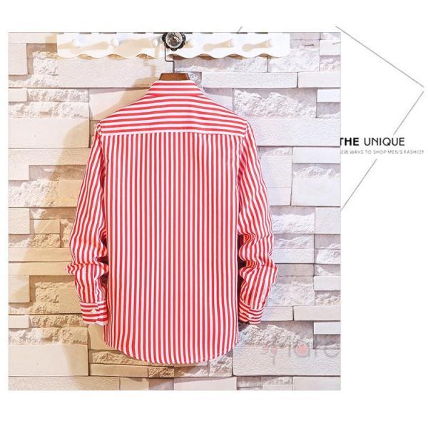 ストライプシャツ メンズ 長袖シャツ カジュアルシャツ ボタンダウンシャツ ビジネス 開襟シャツ 紳士服 おしゃれ|99mate|15