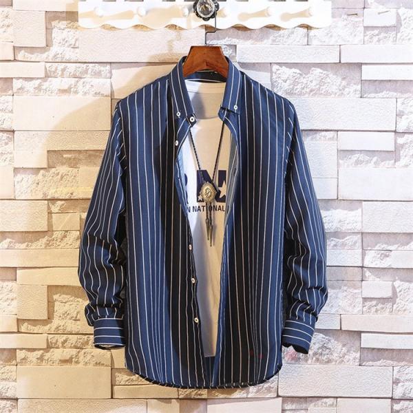 ストライプシャツ メンズ 長袖シャツ カジュアルシャツ ボタンダウンシャツ ビジネス 開襟シャツ 紳士服 おしゃれ|99mate|16