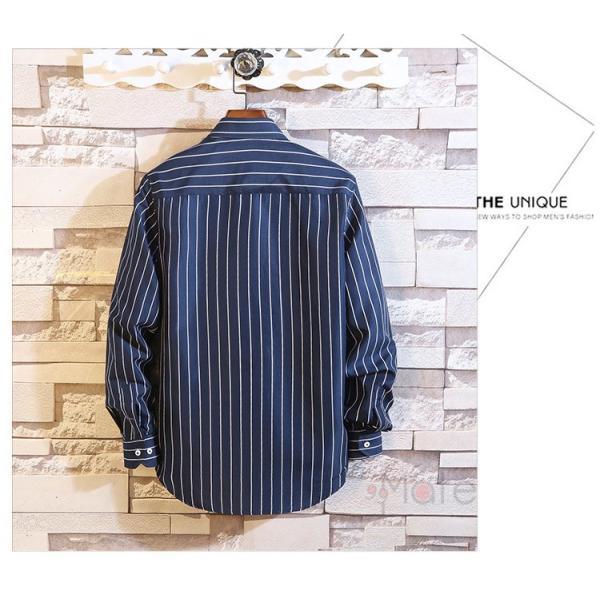 ストライプシャツ メンズ 長袖シャツ カジュアルシャツ ボタンダウンシャツ ビジネス 開襟シャツ 紳士服 おしゃれ|99mate|17