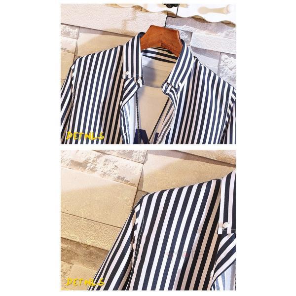 ストライプシャツ メンズ 長袖シャツ カジュアルシャツ ボタンダウンシャツ ビジネス 開襟シャツ 紳士服 おしゃれ|99mate|18