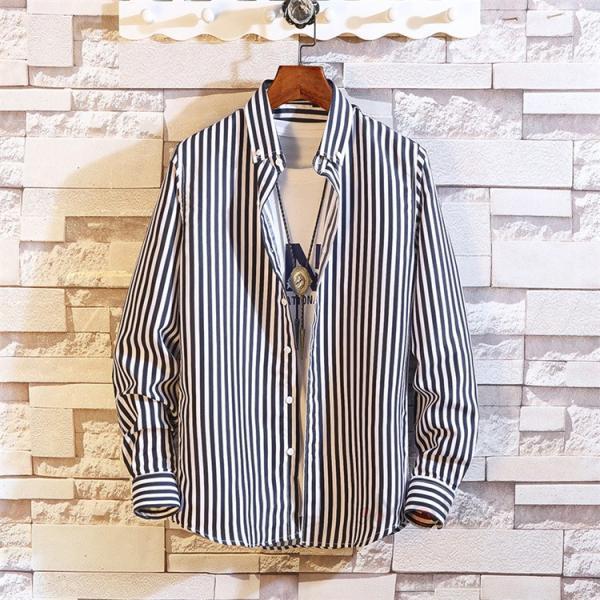ストライプシャツ メンズ 長袖シャツ カジュアルシャツ ボタンダウンシャツ ビジネス 開襟シャツ 紳士服 おしゃれ|99mate|04