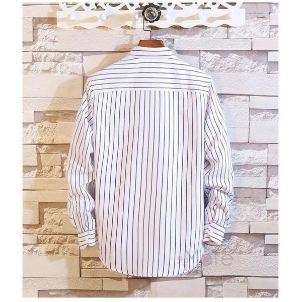 ストライプシャツ メンズ 長袖シャツ カジュアルシャツ ボタンダウンシャツ ビジネス 開襟シャツ 紳士服 おしゃれ|99mate|07