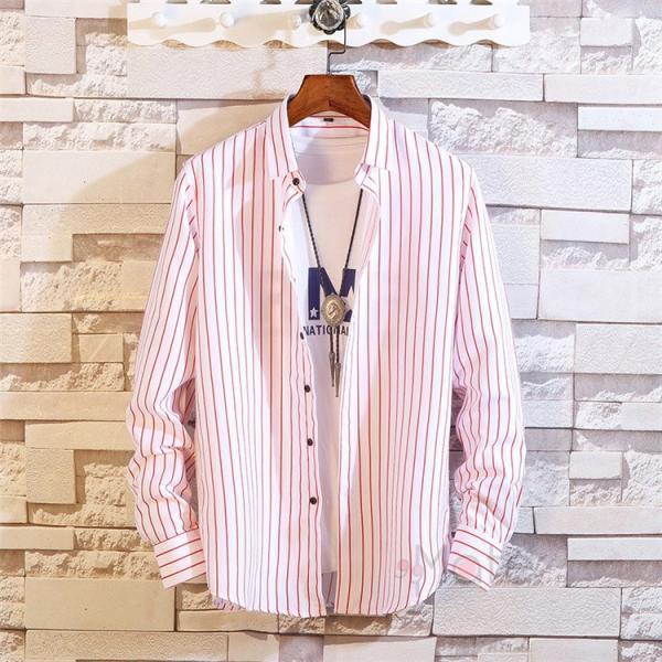 ストライプシャツ メンズ 長袖シャツ カジュアルシャツ ボタンダウンシャツ ビジネス 開襟シャツ 紳士服 おしゃれ|99mate|08