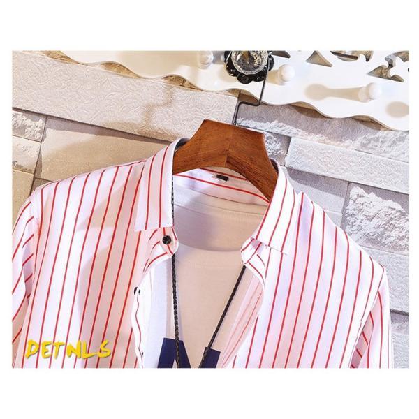 ストライプシャツ メンズ 長袖シャツ カジュアルシャツ ボタンダウンシャツ ビジネス 開襟シャツ 紳士服 おしゃれ|99mate|09