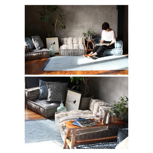 ローソファー コーナー 『ブロック マルチ ソファ コーナー ジオ グレー』 1人掛け 座椅子 システム フロアソファー エスニック|a-depeche|13