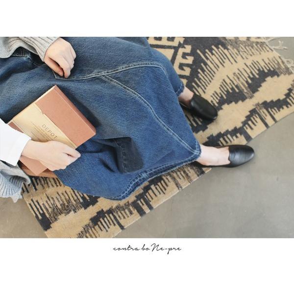 リメイク デニム ロング スカート カジュアルにもモードにも合わせられるスカート|a-depeche|03
